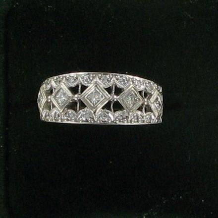 Lady's Diamond Fashion Ring 25 Diamonds .65 Carat T.W. 14K White Gold 3.1dwt