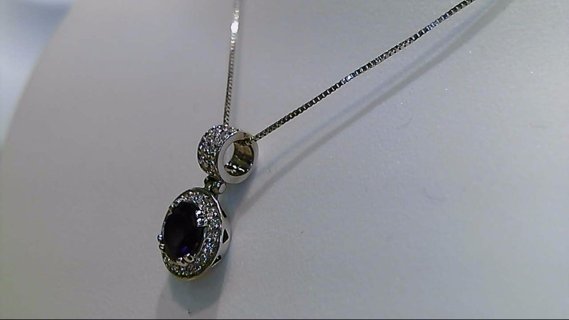 Amethyst Diamond & Stone Necklace 36 Diamonds .180 Carat T.W. 14K White Gold 3g