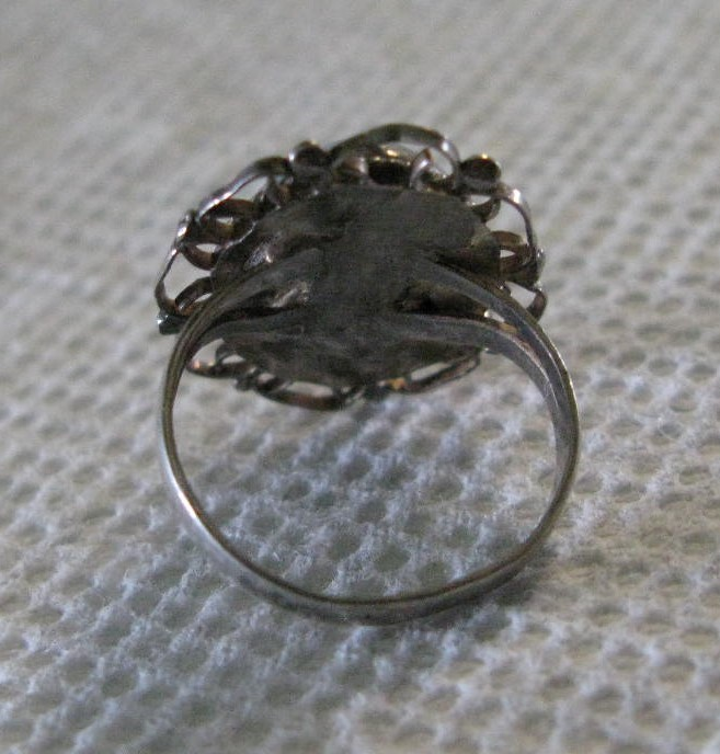 VINTAGE GLASS FIRE OPAL CABOCHON RING WITH FILIGREE EDGING, SIZE 5