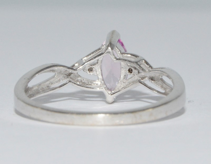 10K White Gold Marquise Pink Topaz & Diamond Twist Ring Size 7