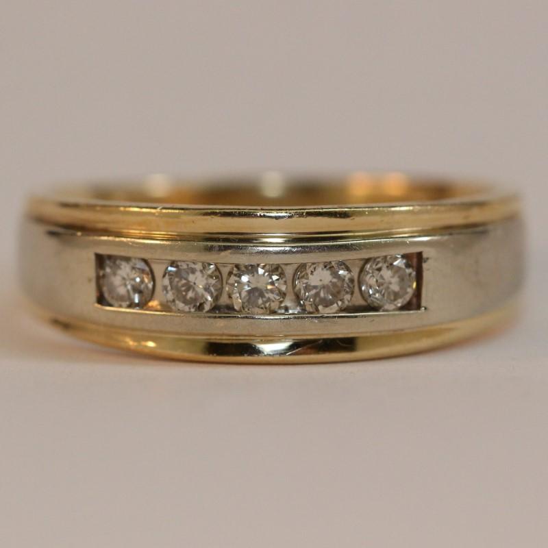 14K Two-Tone Men's Diamond Wedding Band Size 11.5