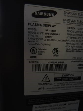 SAMSUNG Flat Panel Television HP-S4253