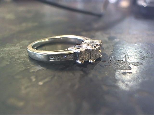 Lady's Diamond Engagement Ring 9 Diamonds .66 Carat T.W. 14K White Gold 2.6dwt