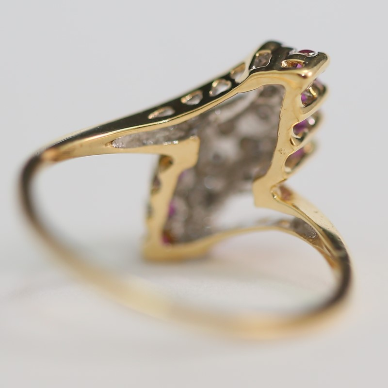 14K Yellow Gold Round Ruby and Brilliant Diamond Cluster Ring Size 6