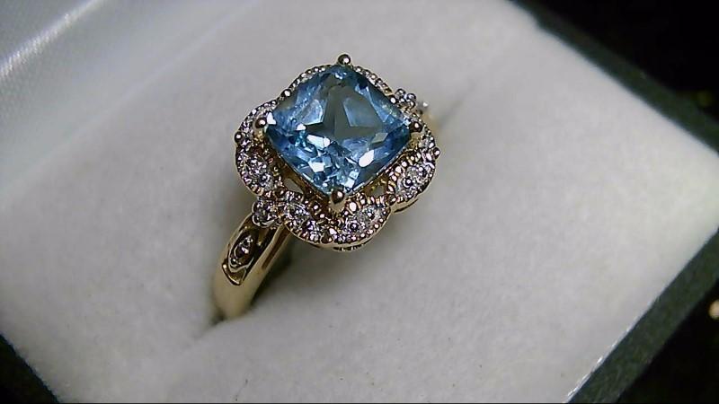 Sky Blue Topaz Lady's Stone & Diamond Ring 10 Diamonds .10 Carat T.W.