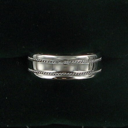 Gent's Gold Wedding Band 14K White Gold 5.5dwt