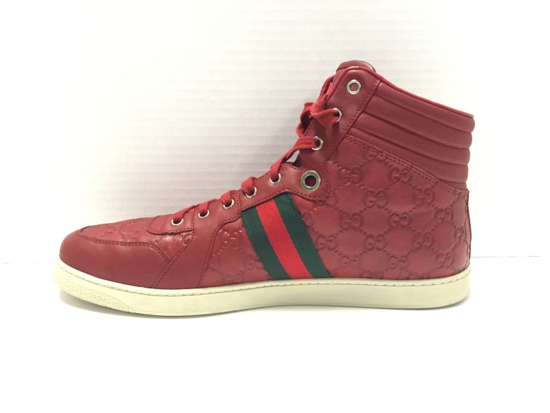 GUCCI 221825 RED HIGH TOPS SZ 13.5US