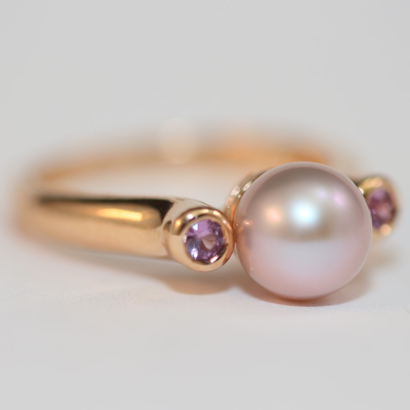 14K Rose Gold Grey Pearl and Pink Sapphire Ring Size 7.25