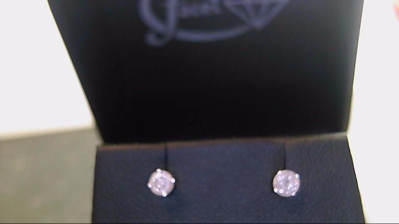 lady's 14k white gold round diamond stud earrings