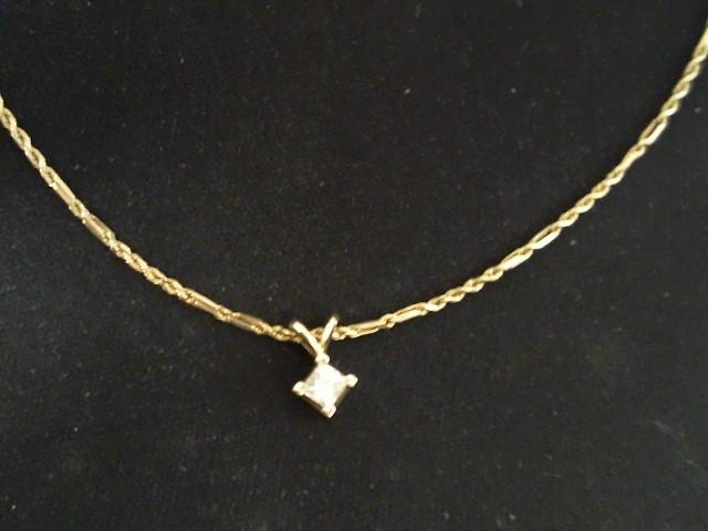Diamond Necklace .40 CT. 14K Yellow Gold 4.1g