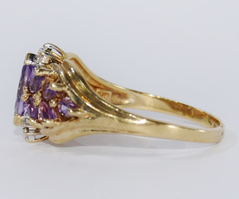 10K Yellow Gold Amethyst & Diamond Marquise Cluster Ring Size 8