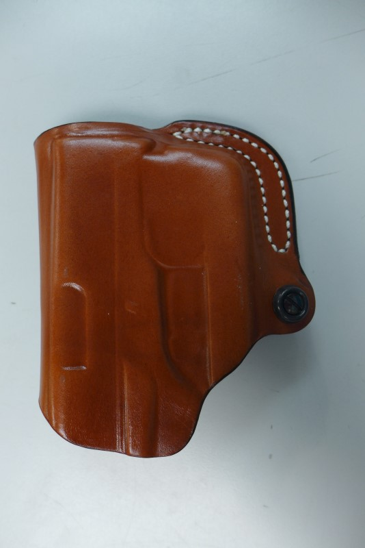 DESANTIS MINI SCABBARD LEATHER HOLDSTER FITS RUGER SR9C TAN RIGHT HAND