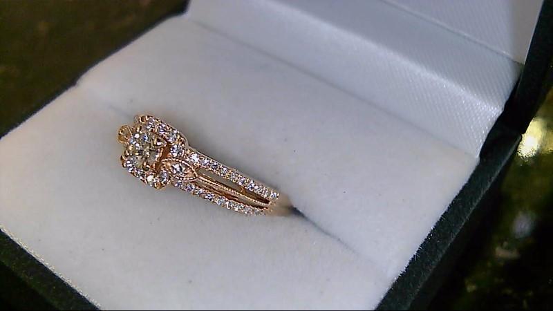 14k Rose Gold Round Diamond Engagement Ring Sz 7