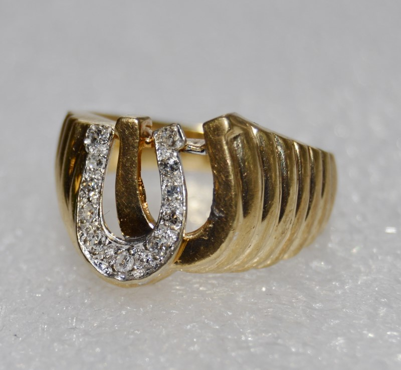14K Yellow Gold Men's Double Horseshoe Ridged Band Diamond Good Luck Ring sz 9.5