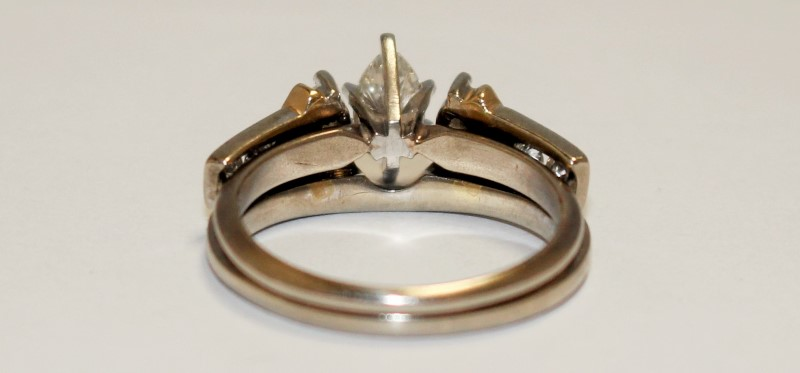 Lady's Diamond Wedding Set 7 Diamonds .82 Carat T.W. 14K 2 Tone Gold 5.2g
