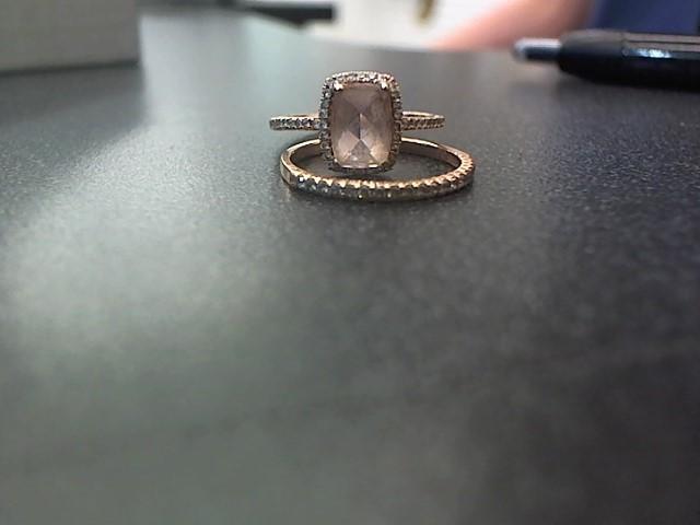 Pink Stone Lady's Stone & Diamond Ring 64 Diamonds .64 Carat T.W. 10K Rose Gold