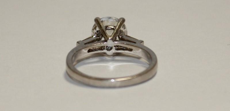 Lady's Platinum-Diamond & Moissanite Ring 2 Diamonds .10 Carat T.W.