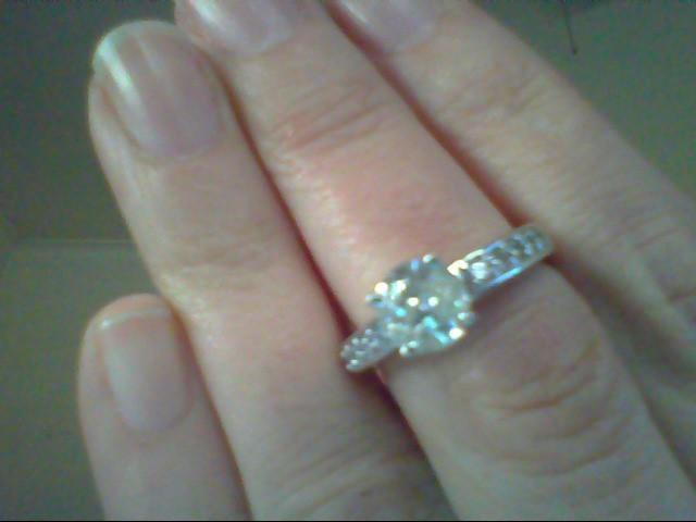 Lady's Diamond Engagement Ring 11 Diamonds 1.25 Carat T.W. 14K White Gold 4g