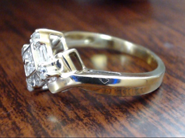 VINTAGE DIAMOND RING SOLID REAL 10K GOLD ENGAGEMENT CLUSTER SIZE 7