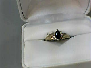 Sapphire Lady's Stone & Diamond Ring 6 Diamonds .18 Carat T.W. 14K Yellow Gold