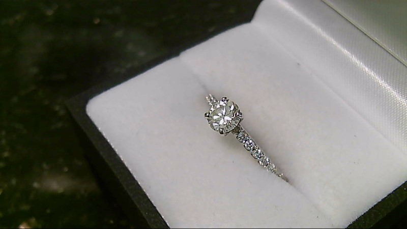 new  lady''s 14k wht gold .52ct (H-VS2) with rd diamond in band ring