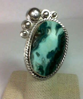 Green Stone Lady's Silver & Stone Ring 925 Silver 23.5g Size:7.5