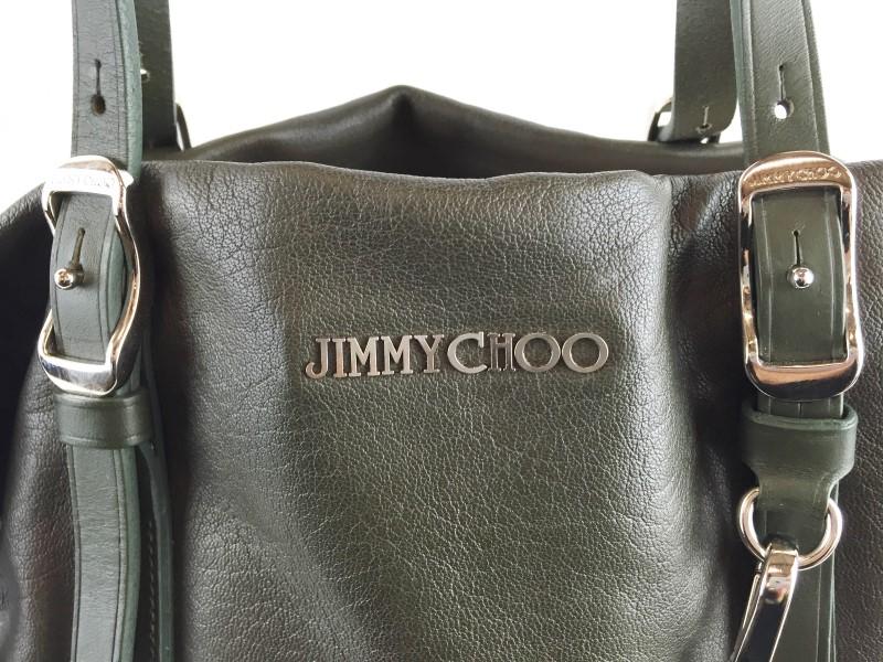 JIMMY CHOO GREEN BIKER LEATHER SHOULDER BAG