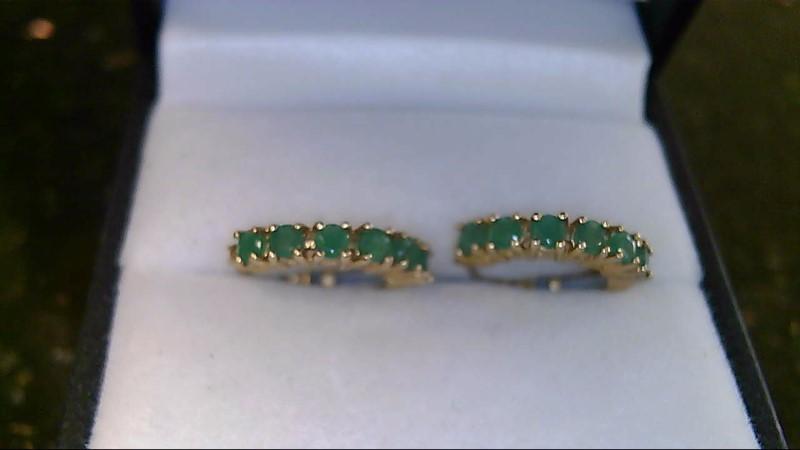 Lady's 10k yellow gold genuine round emerald hoop earrings