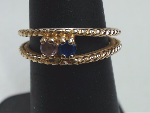 Blue Stone Lady's Stone Ring 14K Yellow Gold 3.8g Size:5.3