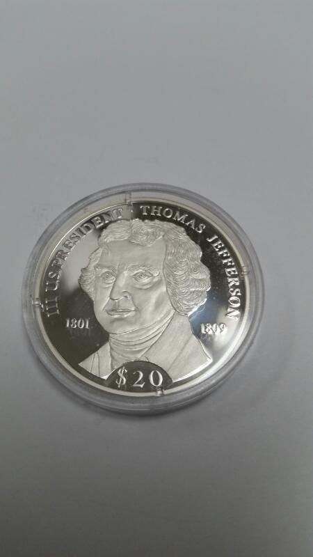AMERICAN MINT REPUBLIC OF LIBERIA $20.00 SILVER COIN THOMAS JEFFERSON