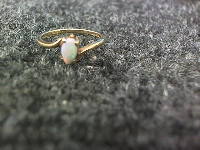 Synthetic Opal Lady's Stone Ring 10K Yellow Gold 1.6g Size:6.5