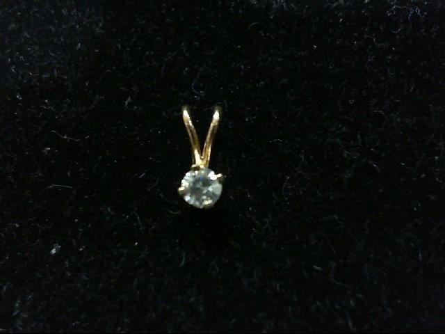 Gold-Diamond Solitaire Pendant .09 CT. 14K Yellow Gold 0.4g