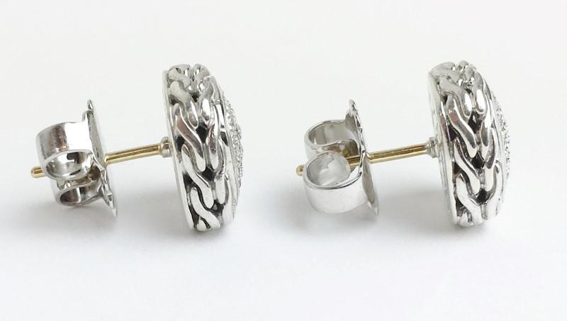 John Hardy Diamond Earrings 60 Diamonds .60 Carat T.W. 925 Silver 5.74g