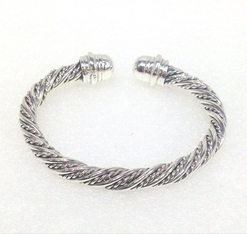 Sterling Silver Cable Twisted Rope Design Cuff Bracelet