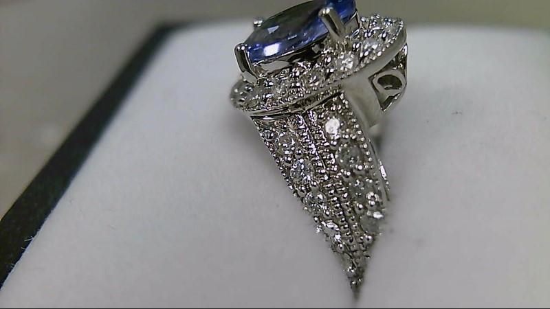 Genuine Tanzanite 1.61 CTTW & Diamond 1/2 CTTW 14K White Gold Ring