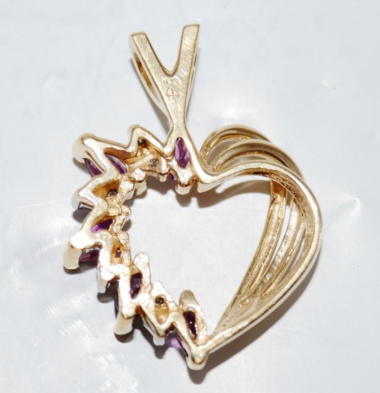 14K Yellow Gold Pink Marquise Tourmaline Rainbow Heart Silhouette Pendant