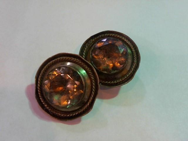 Brown Stone Silver-Stone Earrings 925 Silver 29.9g
