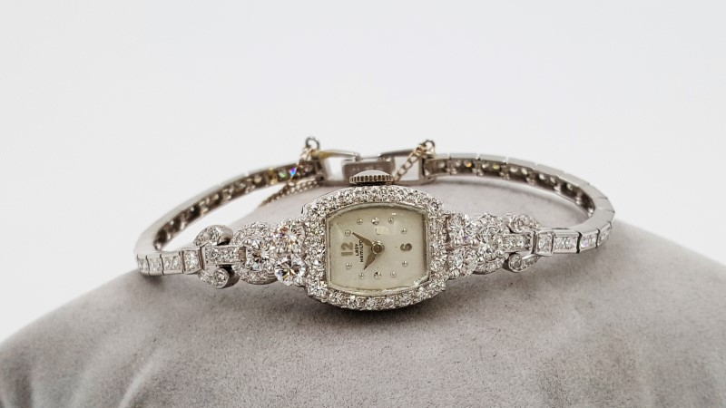 Lady's Vintage Hamilton Platinum & Diamond Cluster Watch As-Is