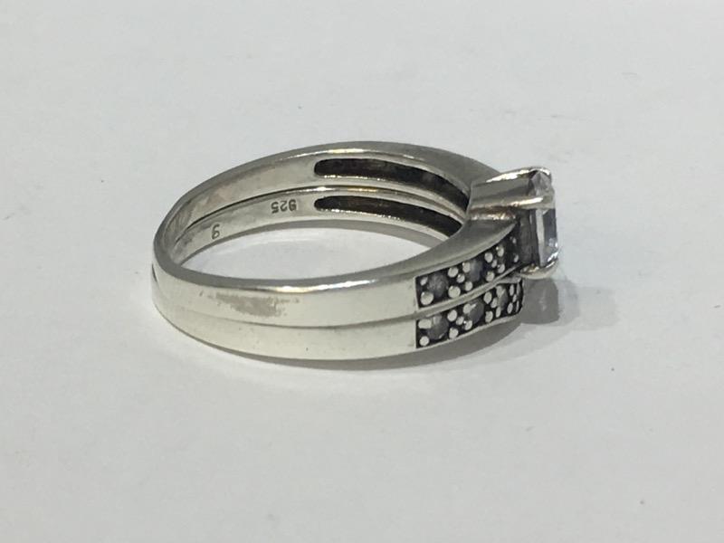 Sterling Silver Oxidized Cubic Zirconia Wrap Wedding Ring Set sz 8.5