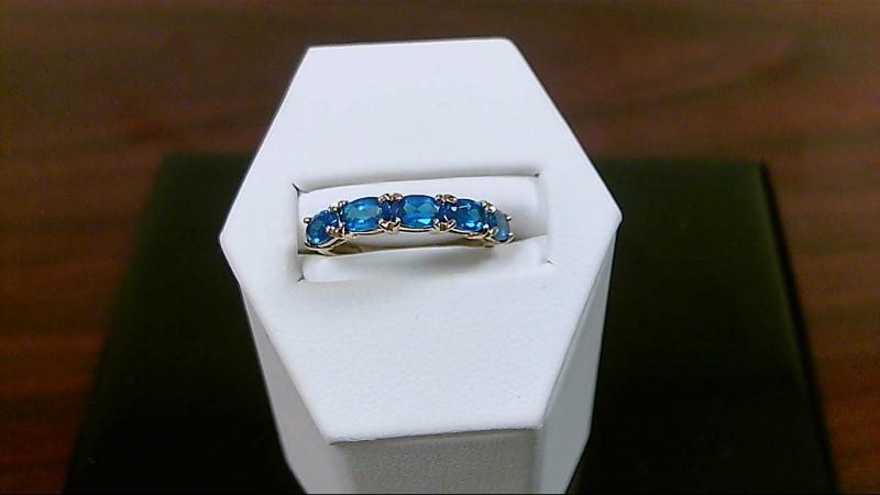 Blue Topaz Lady's Stone Ring 14K Yellow Gold 1.5g