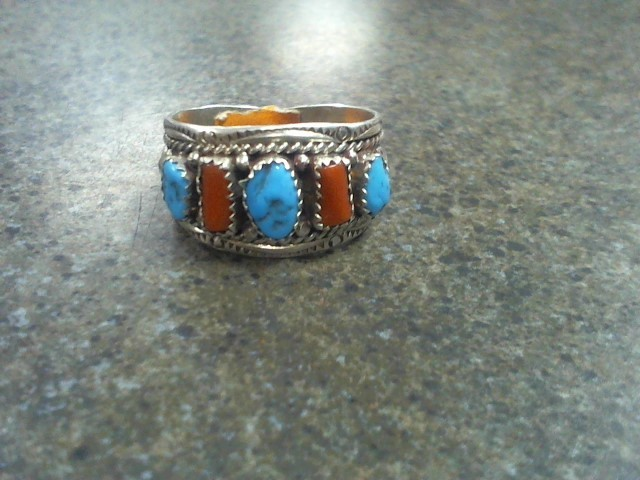 Gent's Silver Ring 925 Silver 9.1g TURQUOISE AND CORAL