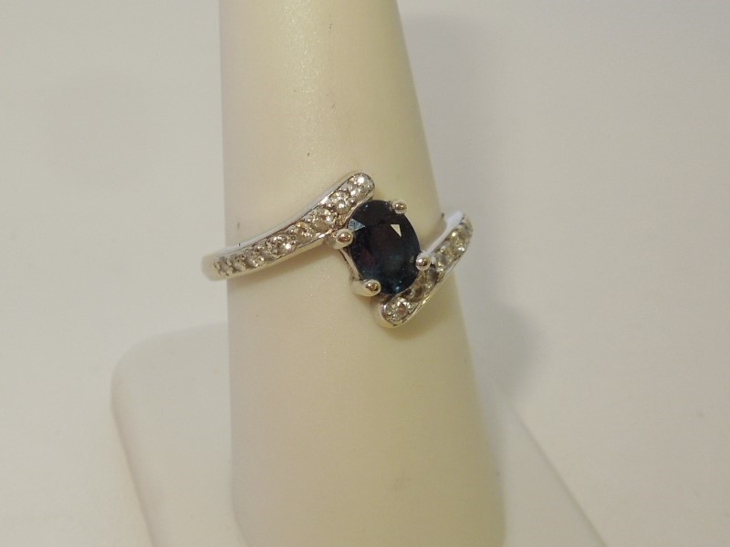 Synthetic Sapphire Lady's Stone & Diamond Ring 18 Diamonds .24 Carat T.W.