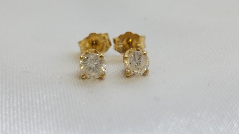 Gold-Diamond Earrings 2 Diamonds .53 Carat T.W. 18K Yellow Gold 1g
