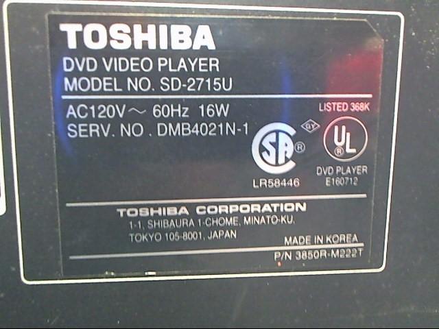 TOSHIBA DVD Player SD-2715U