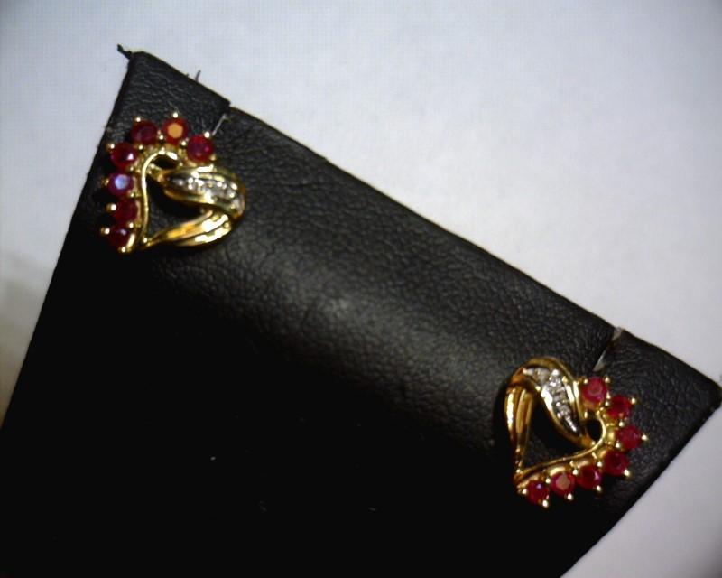Ruby Gold-Diamond & Stone Earrings 2 Diamonds .02 Carat T.W. 10K Yellow Gold