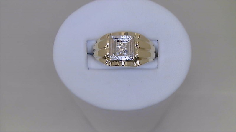 gent's 14k yellow and wht gold 1/5 ct rd dia ring
