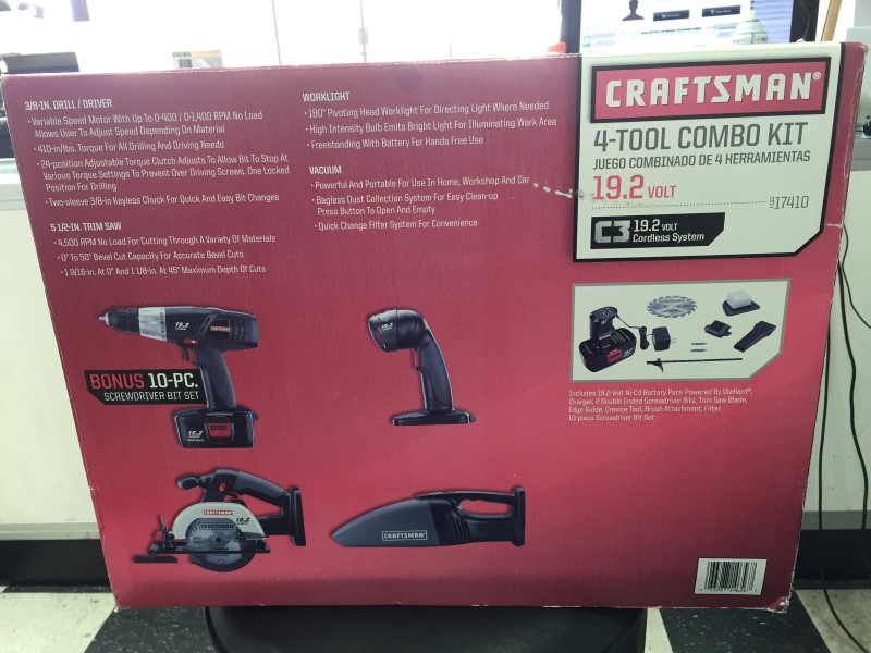 CRAFTSMAN COMBINATION TOOL SET 19.2 VOLT 17410