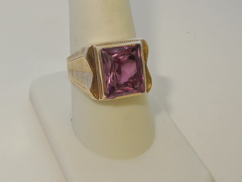 Synthetic Amethyst Gent's Stone Ring 10K Yellow Gold 7.2g Size:10