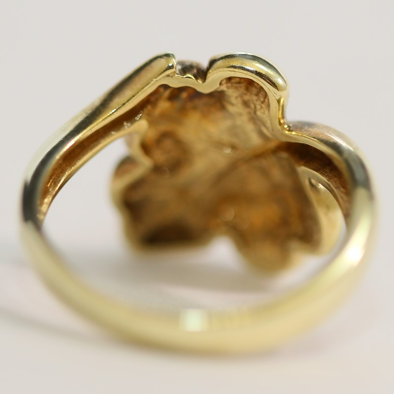Unique 14K Yellow Gold Leaf Ring Size 6.3