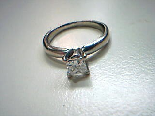 Lady's Diamond Solitaire Ring .22 CT. 14K White Gold 2g Size:4